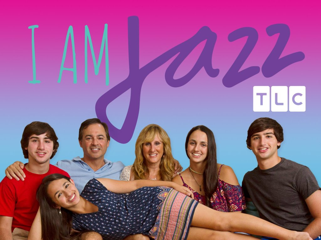 "A photo of transgender activist Jazz Jennings and her family. The text reads ""I Am Jazz TLC."""