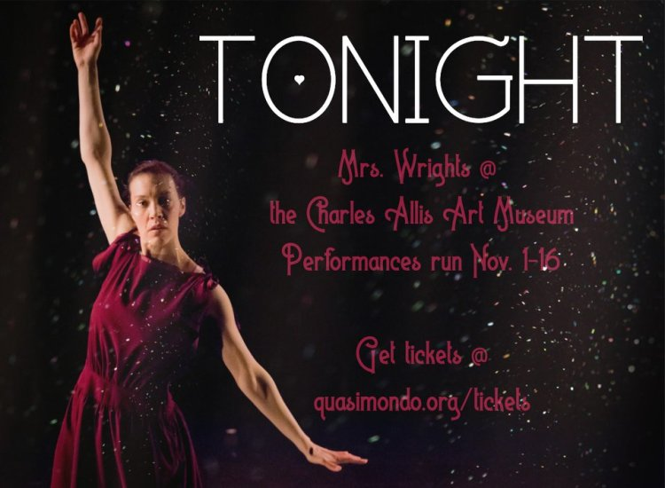 A female dancer in a red dress with arms extended. Text reads: TONIGHt: Mrs. Wrights @ The Charles Allis Art Museum, Performances run Nov. 1-16, Get tickets @ quasimondo.org/tickets